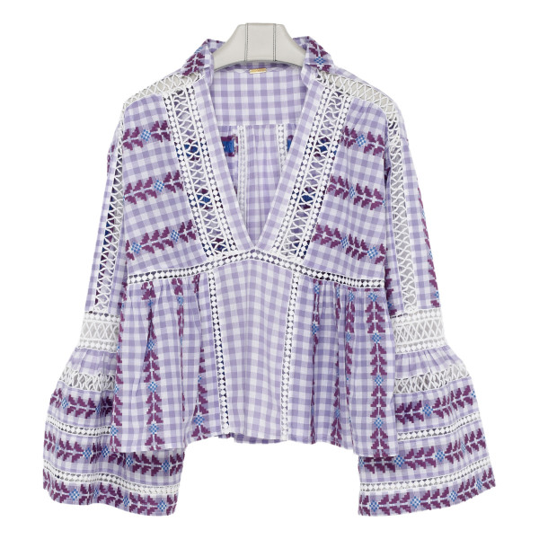Light purple embroidered gingham top