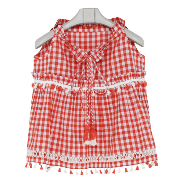 Red and white tassel detailed flared top