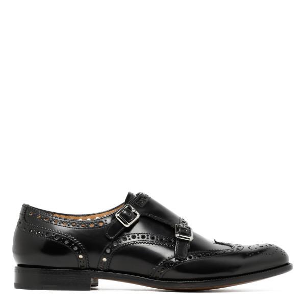 Black Polished Binder Monk Brogue shoes