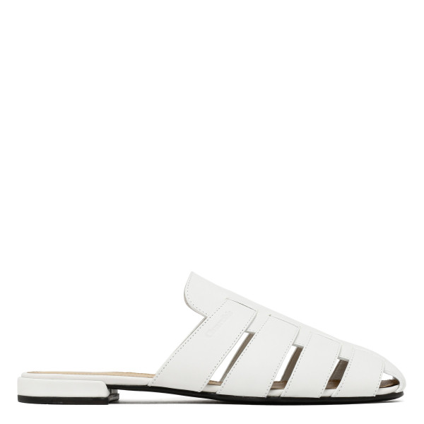 Becky white leather mule sandals