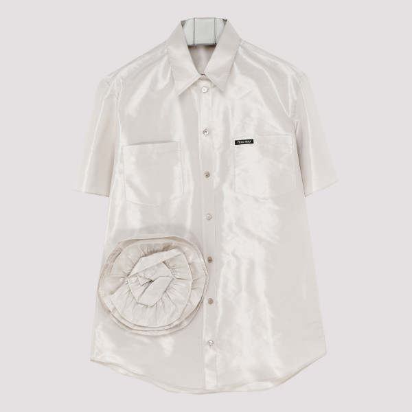 White taffeta blouse with rose