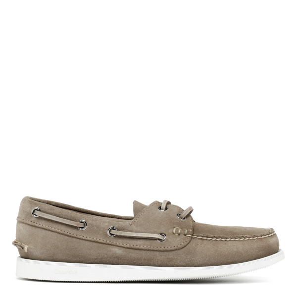 Stone Suede Boat Loafers