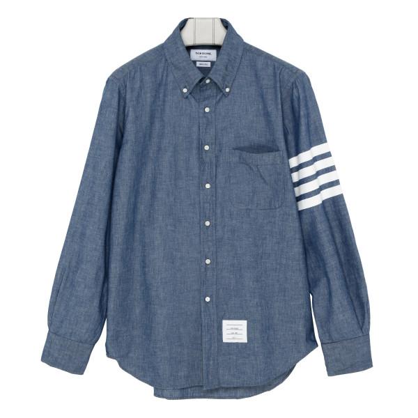 4-Bar Straight-Fit Chambray Shirt