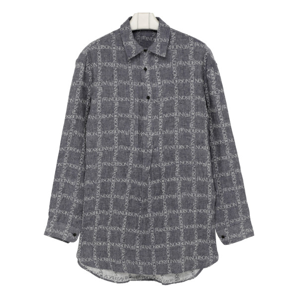 Gray linen tunic shirt with logo
