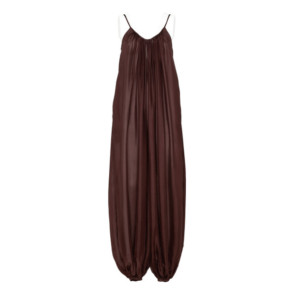 Chocolate brown silk balloon dress