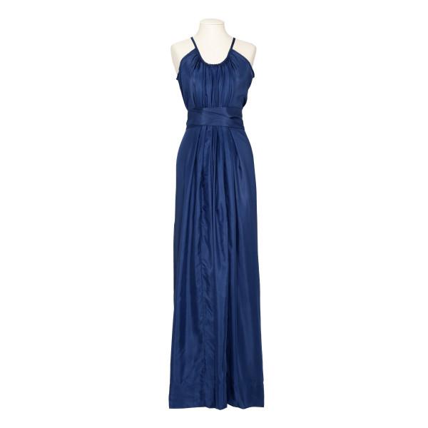 Genevieve blue silk dress