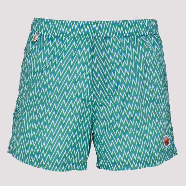 Light blue printed swim shorts