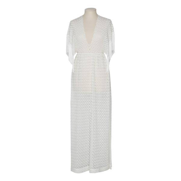 White fringed maxi dress