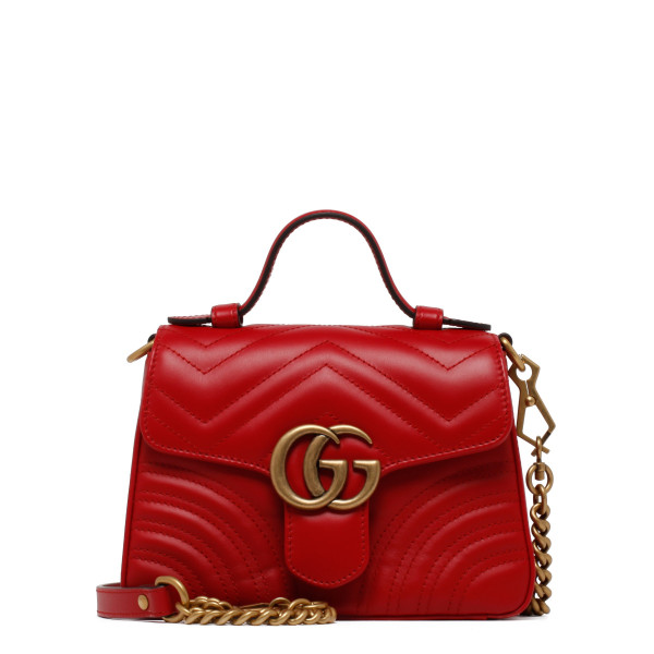 GG Marmont red mini top handle bag