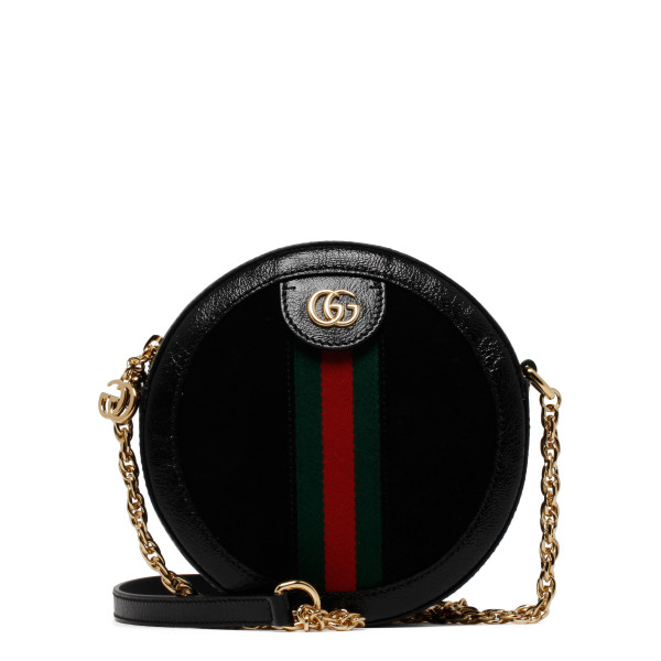 Black Ophidia mini round shoulder bag