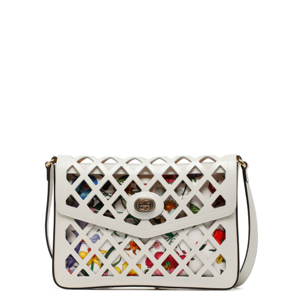 7f27cd0b495b White cutout leather medium shoulder bag. GUCCI