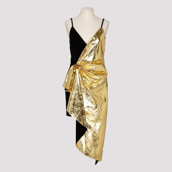 Metallic leather asymmetric mini dress