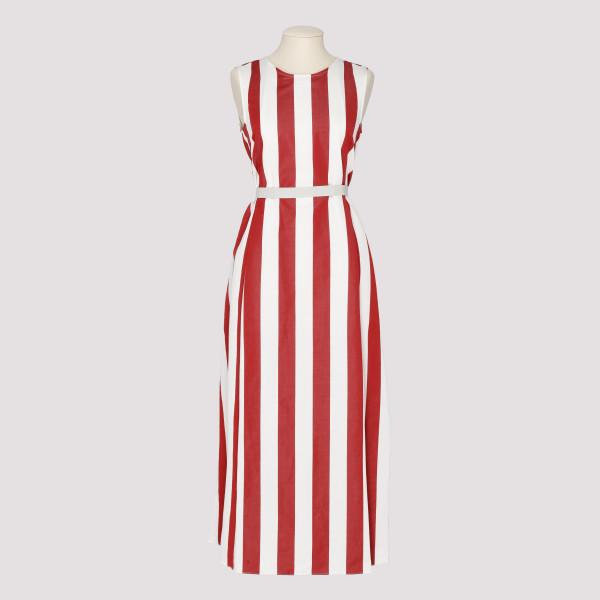Ramie cotton striped dress