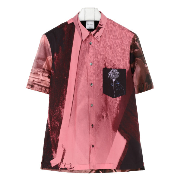 Pink Graphic-print tailored-fit cotton shirt