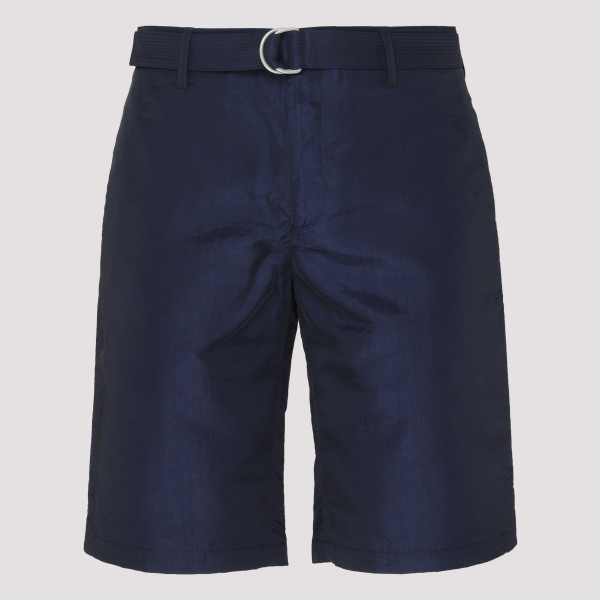 Navy Silk-Blend Shorts with...