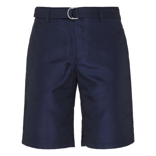 Navy Silk-Blend Shorts with Belt