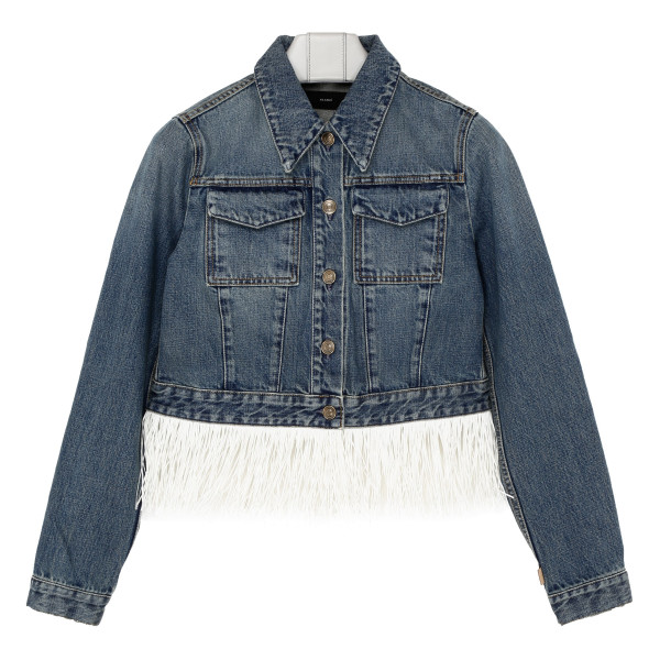 Embroidered and fringed denim jacket