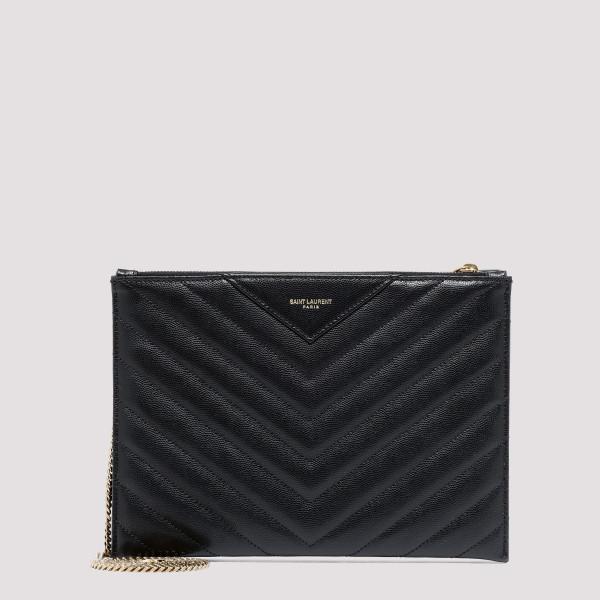 Black Tribeca quilted leather chain wallet
