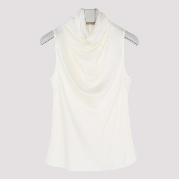 White silk Cowl Tank top