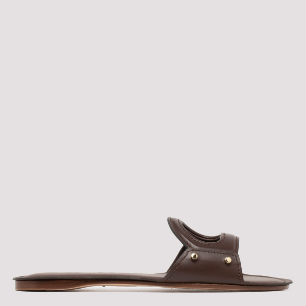 Brown flat leather sandals