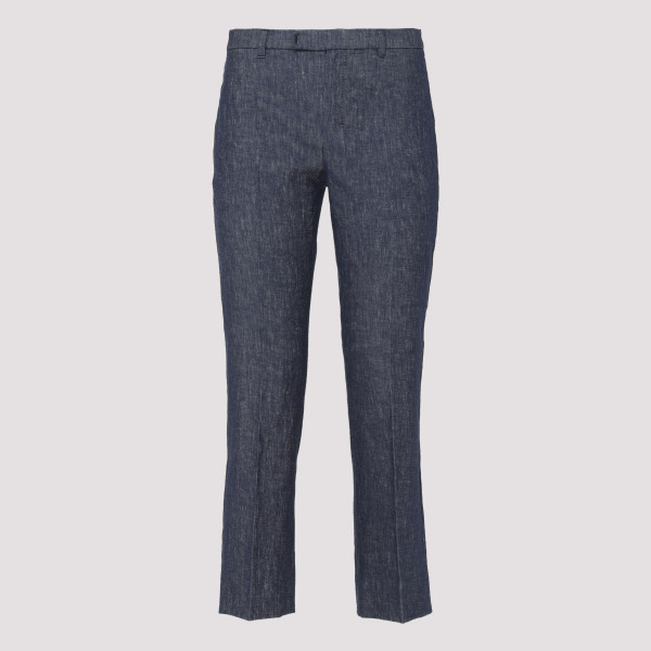 Flared cropped blue pants