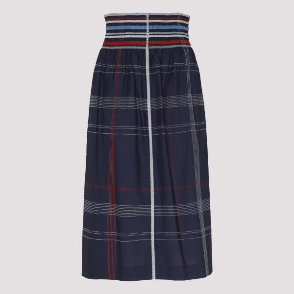 Blue cotton midi skirt
