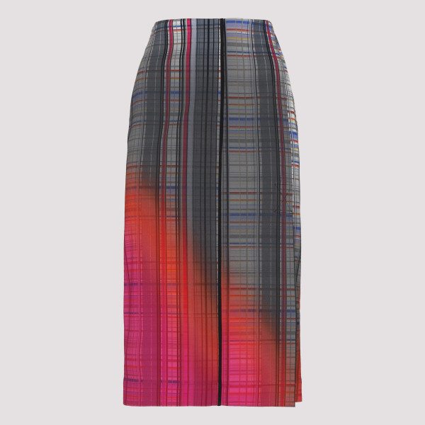 Check stretch viscose skirt