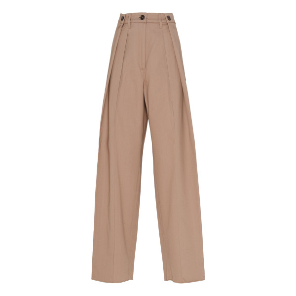 Double pleated beige cotton pants