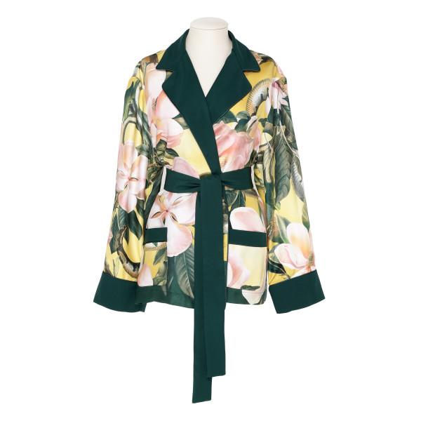 Giocasta floral silk belted jacket
