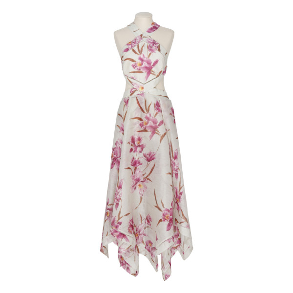 Corsage orchid print halter-neck dress