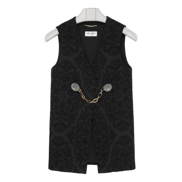 Black wool jacquard vest