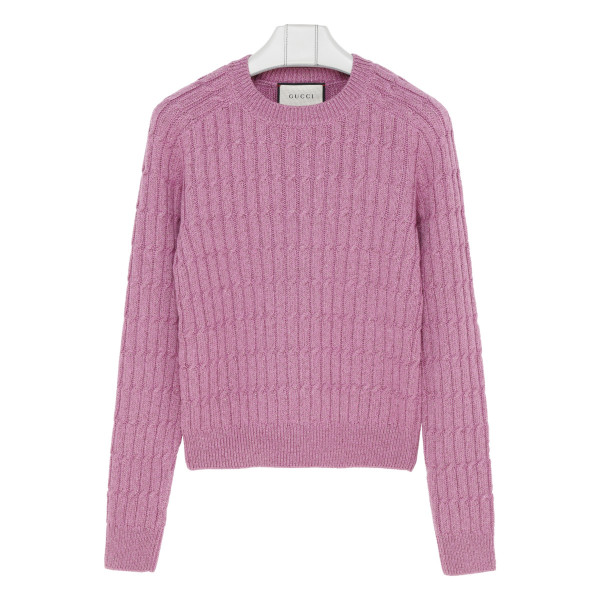 Pink cable-knit sweater