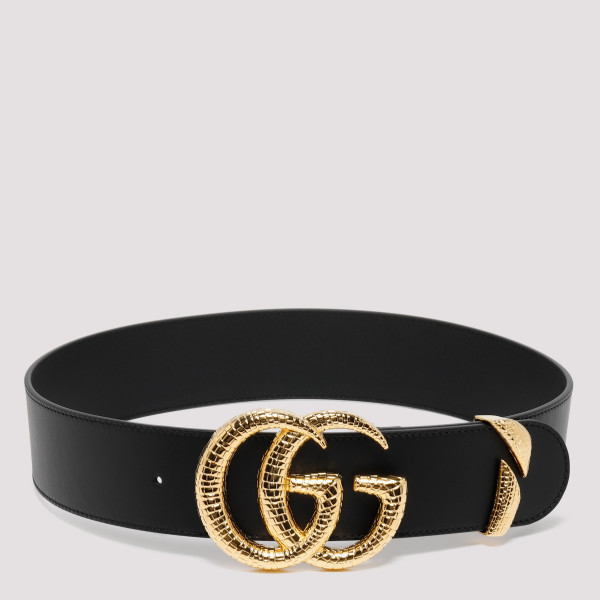 ee645933cf6 Black leather belt with snake GG buckle