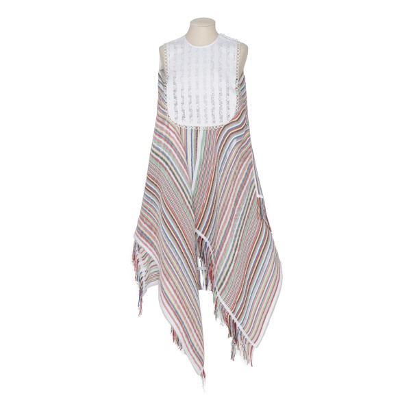 Multicolor stripe bib dress