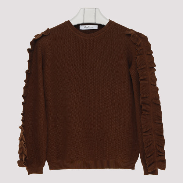 Frilled sleeves brown sweater