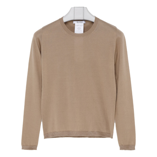 Beige silk and cotton blend sweater