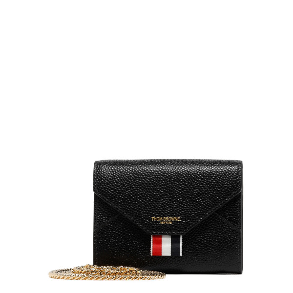 Black pebbled leather short envelope wallet