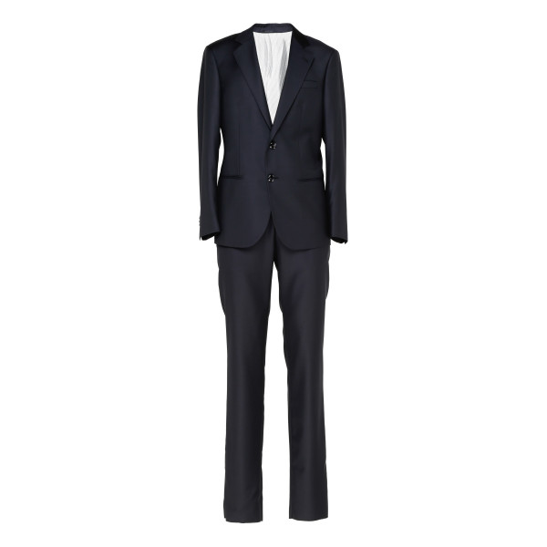 Blue wool single-breasted suit