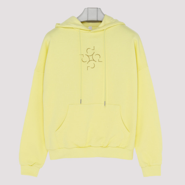 Yellow cotton Lotus hoodie