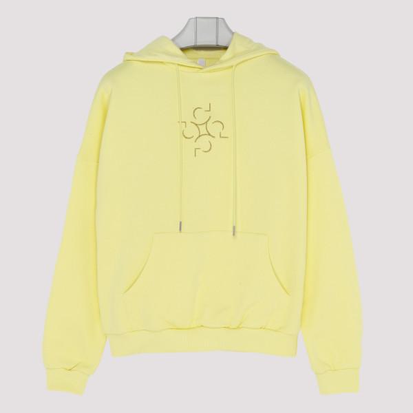 Yellow cotton Lotus hoodie