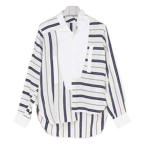 White and blue Oversize Stripe Shirt