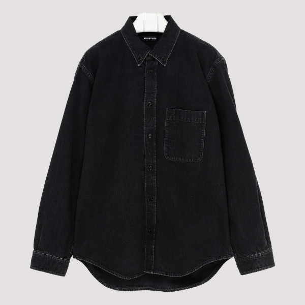 Black cotton denim shirt...