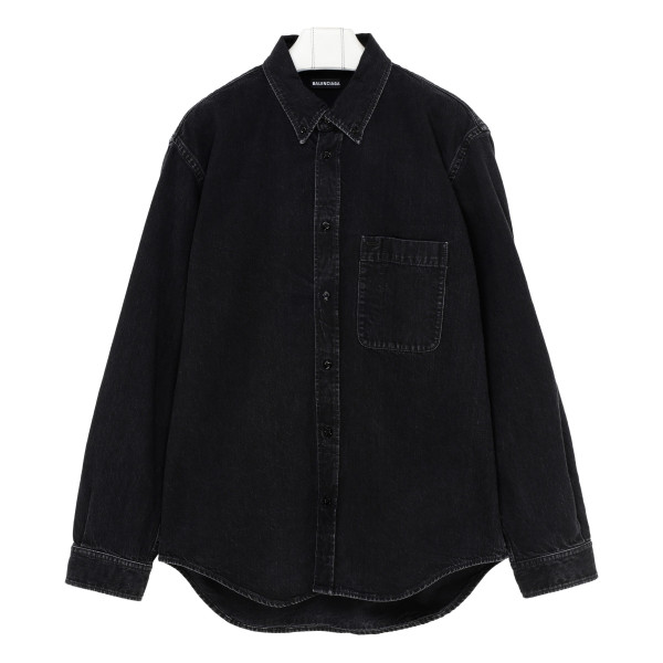 Black cotton denim shirt with logo