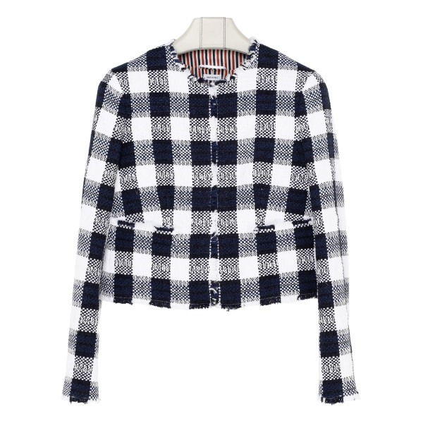 Blue and white checkered jacket