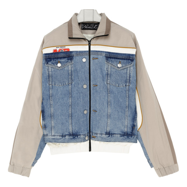 Beige front stripe denim jacket