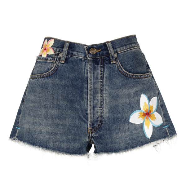 Hawaiian blue denim shorts