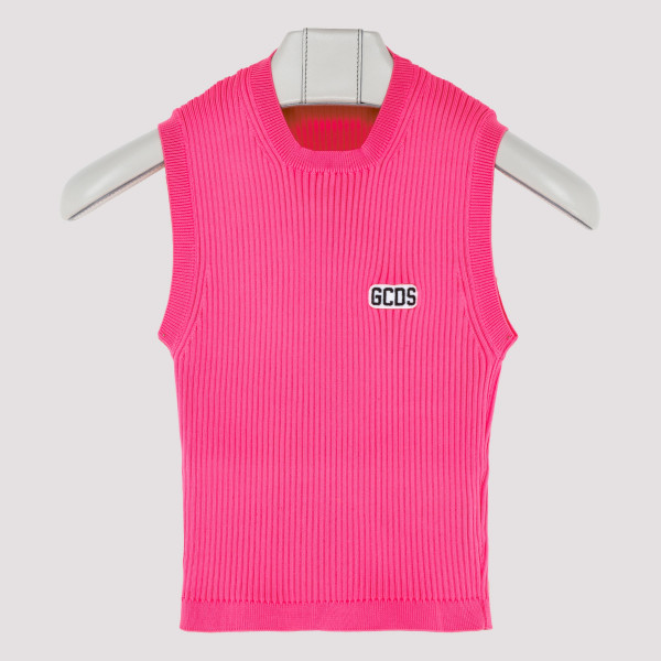 Pink ribbed-knit top