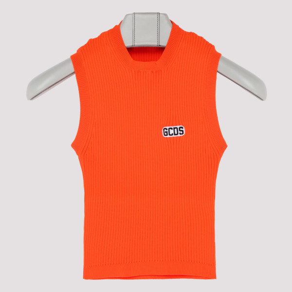 Orange ribbed-knit top