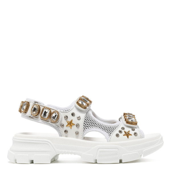 White mesh and leather sandals with crystals