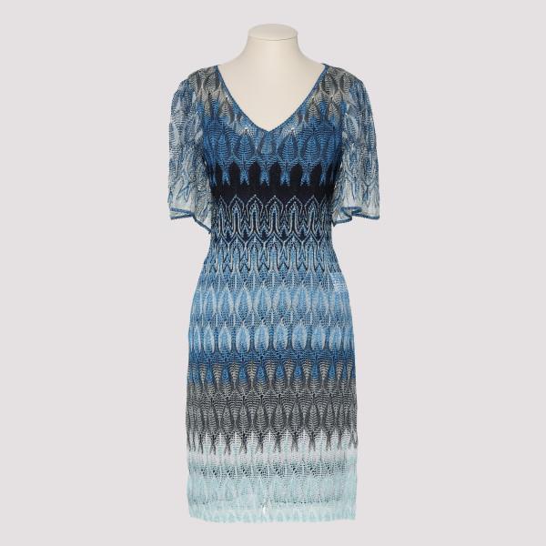 Blue Knit Mini Dress